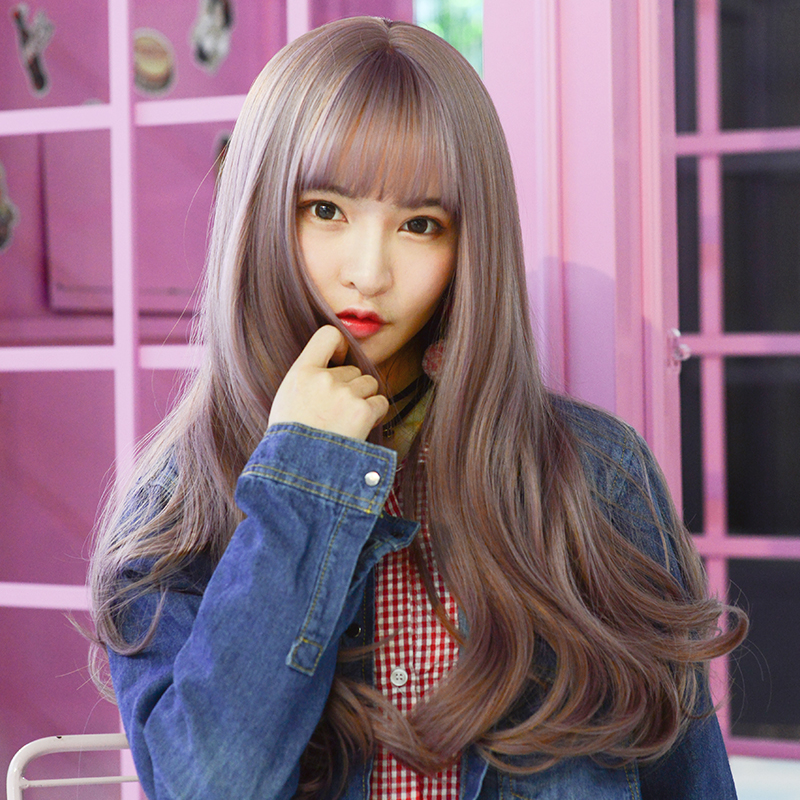 Lazy wind wig female long hair net red lovely natural fluffy no trace light wave long curly hair full head set
