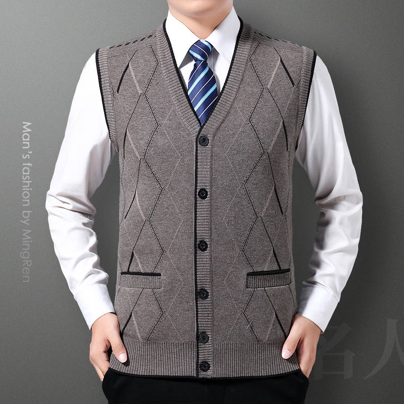Middle aged cardigan mens old age chicken heart collar warm knitted jacket dad sleeveless woolen vest V-neck