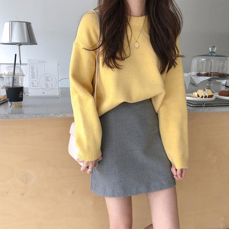 2020秋冬新款毛衣女韩版宽松慵懒风纯色学生套头长袖针织打底衫女