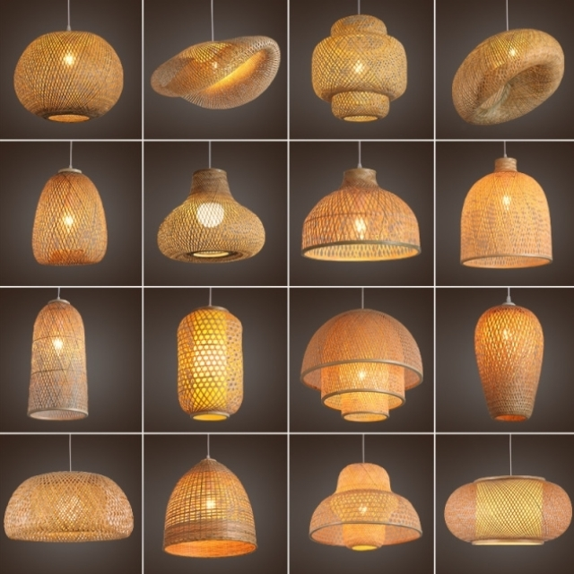 New Chinese style bamboo lantern pendant lamp barber shop Farm Resort wave industrial wind room lamp modern lamp supplies