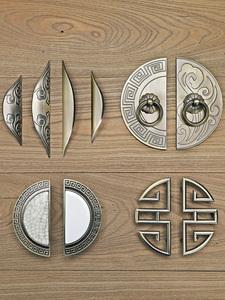 新中式古典半圆形拉手青古铜抽屉柜门拉手欧式仿古衣柜子橱柜把手