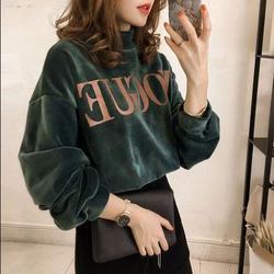 【整件加绒】2020秋冬新款韩版丝绒宽松套头加绒加厚半高领卫衣女