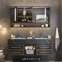 实木岩板浴室柜组合现代简约轻奢小户型卫生间洗漱台洗手洗脸盆柜