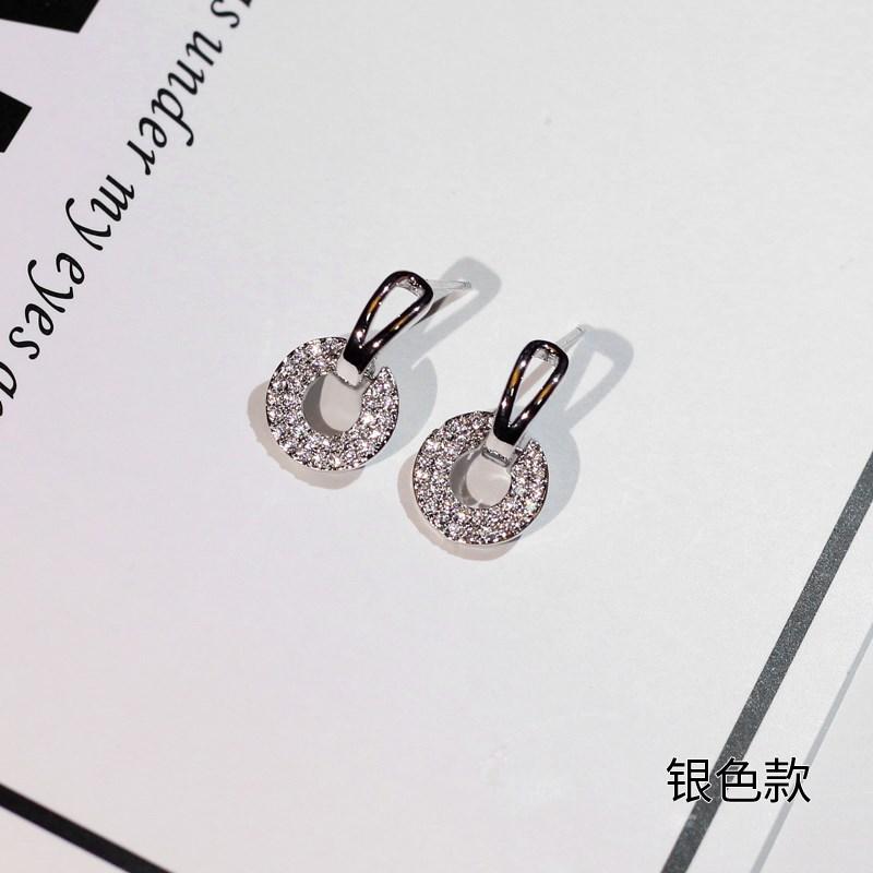 Classic womens button ring dress shop winter girl student Earrings temperament long shiny Earrings Fashion ears
