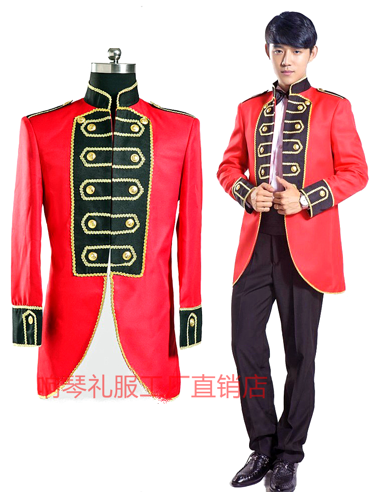 High end nightclub bar singer performance host mens dress court red Tuxedo Suit stage performance
