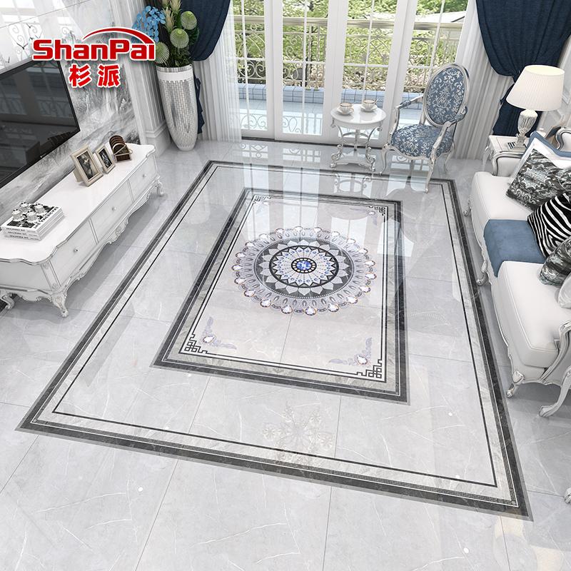 客厅拼花瓷砖图案过道厨房入户玄关地砖欧式灰色抛晶砖800*800