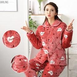 老年人奶奶女珊瑚绒妈妈小个子冬装套装保暖睡衣加绒厚棉衣家居服