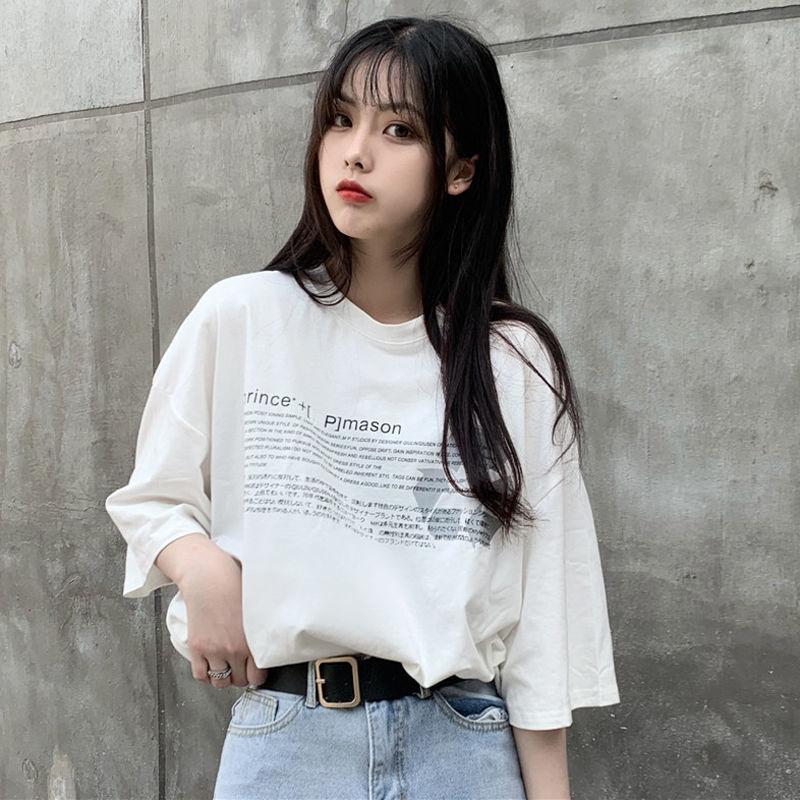 夏季新款韩版宽松ins短袖T恤女情侣装学生原宿bf风半袖体恤女上衣