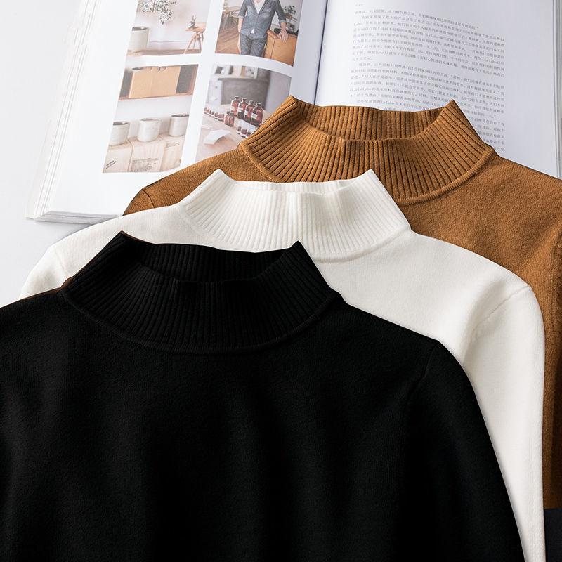 毛衣男秋冬季纯色半高领套头针织衫