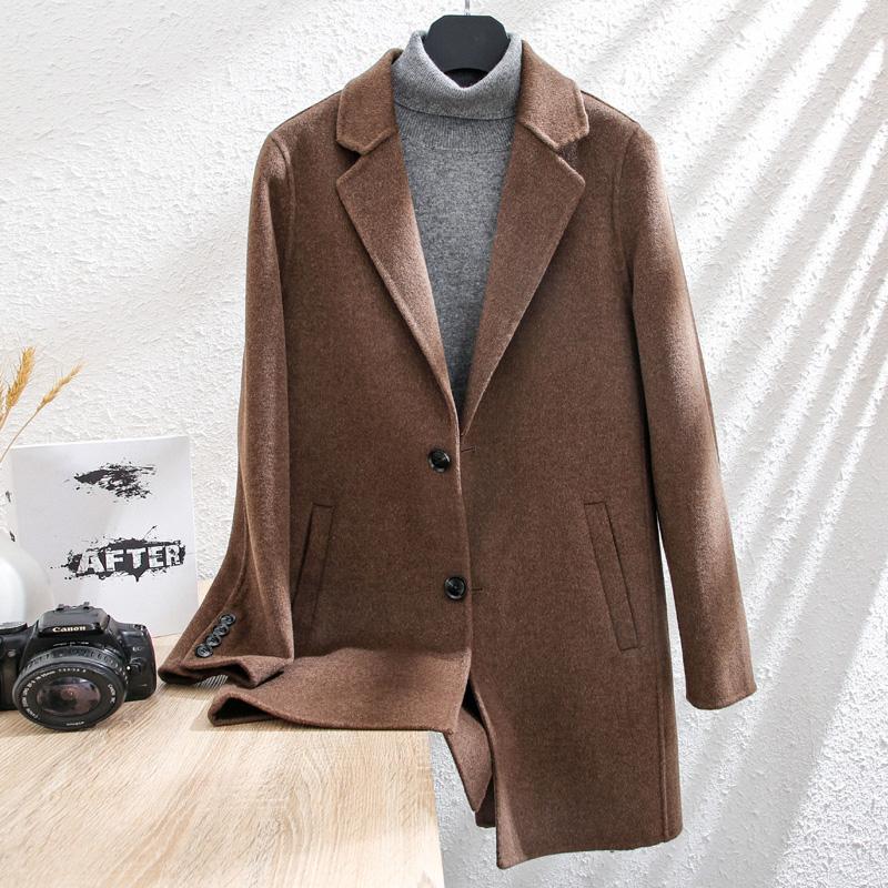Mens winter new Korean youth double face woolen coat mens medium long off shoulder windbreaker cashmere coat