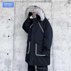 黑色棉服男中长款冬季外套加厚潮牌ins棉衣胖子大码国潮羽绒棉袄