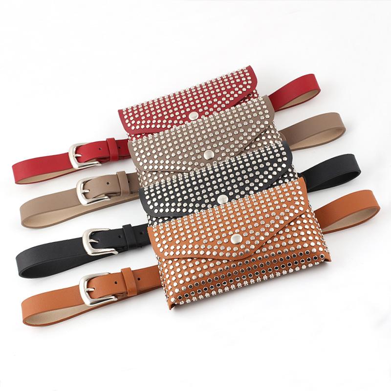Fashion European and American mobile phone shopping guide waist bag leisure style rivet inlaid belt bag womens thin belt decoration