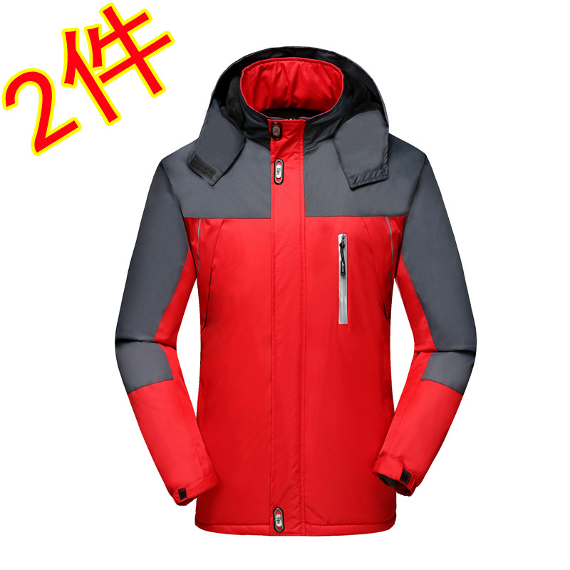 Mens winter outerwear, cotton padded jacket, mens sports mountaineering suit, medium length plush and thickened winter coat