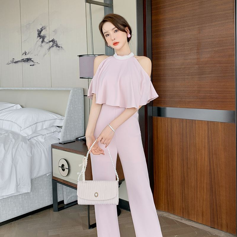 Fashion Jumpsuit with neck and fake two piece suit design