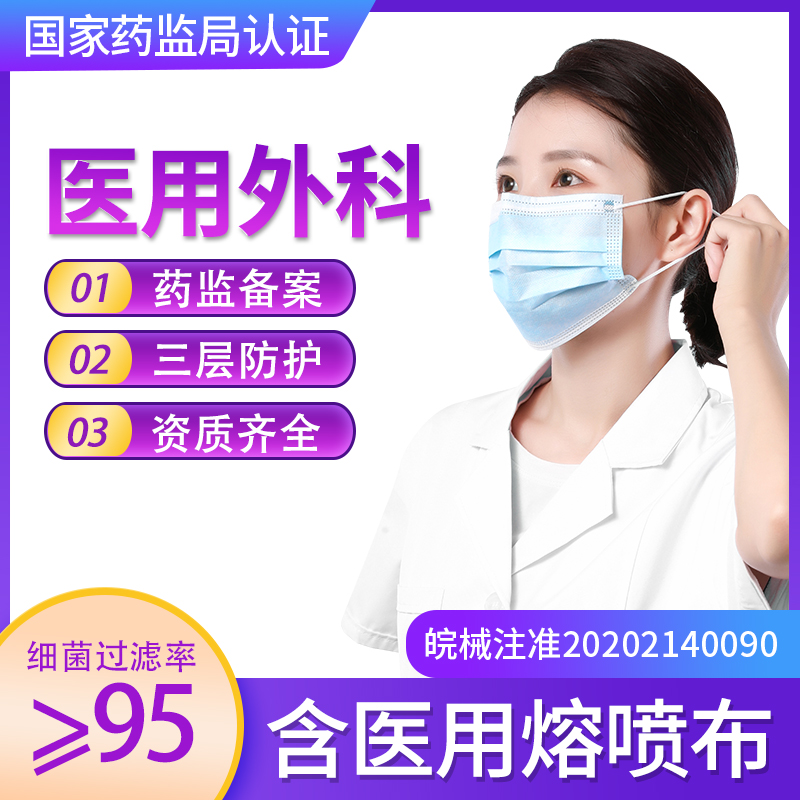 Medical surgical mask disposable three-layer ventilation medical doctor protection anti spray 100 pieces of nose mask 16