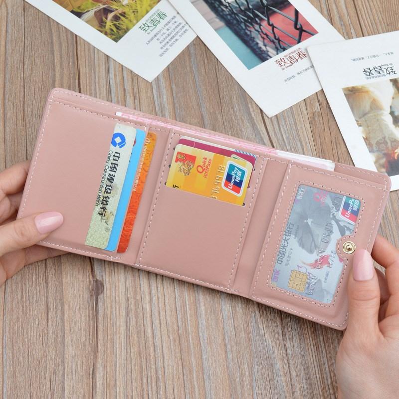 新款女士钱包女短款简约学生可爱三折叠小清新薄款零钱包皮夹钱夹