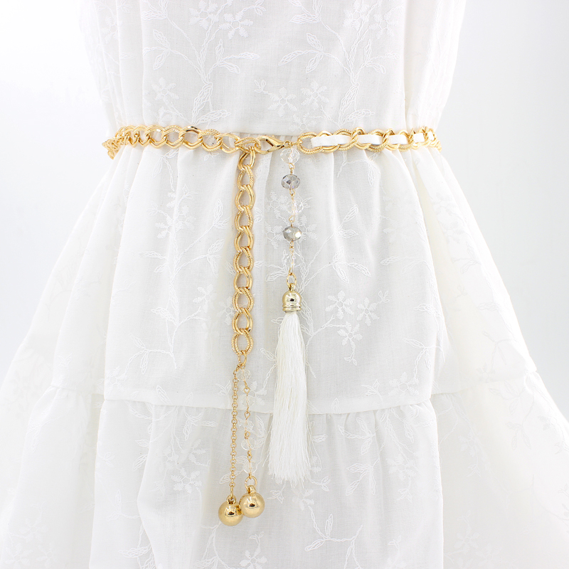 . Metal versatile thin waist chain womens Korean version simple hook belt womens dress decorative belt tassel waist