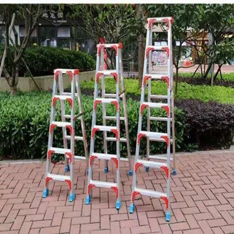 Thickened step home 2m ladder stair folding double side step ladder four five aluminum alloy engineering cabinet