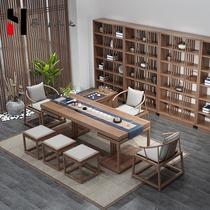 新中式茶桌椅组合全实木小茶台禅意茶室功夫泡茶桌家用办公室定制