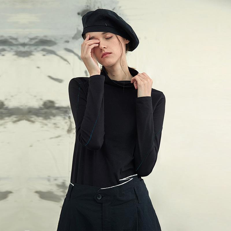 EDFV原创设计女装2021新款潮洋气黑色半高领打底衫女内搭长袖t恤