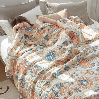 毛巾被夏季薄款全棉单人夏老式怀旧四层纯棉纱布夏凉被子大人毛毯