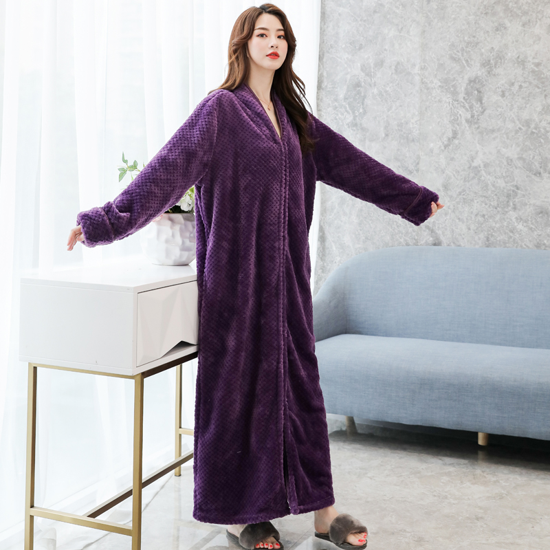 Fenton official Nightgown female winter thickened extended to ankle loose nightdress female zipper one-piece Nightgown Plush couple bath
