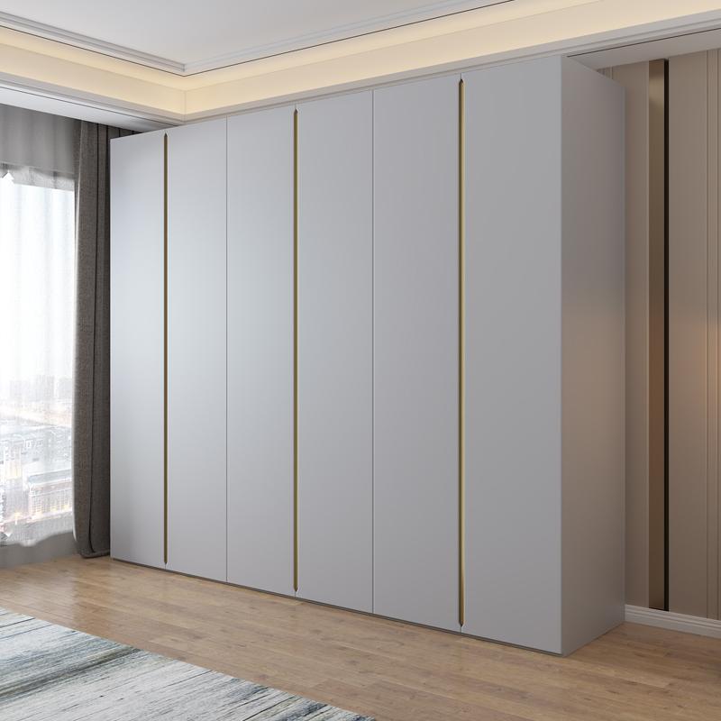 现代简约衣柜家用卧室北欧轻奢极简四六门组合到顶木质整体大衣橱