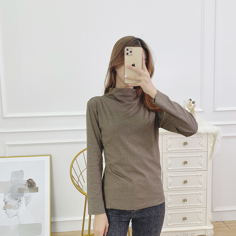 Cationic half high collar bottom coat for women in spring and winter