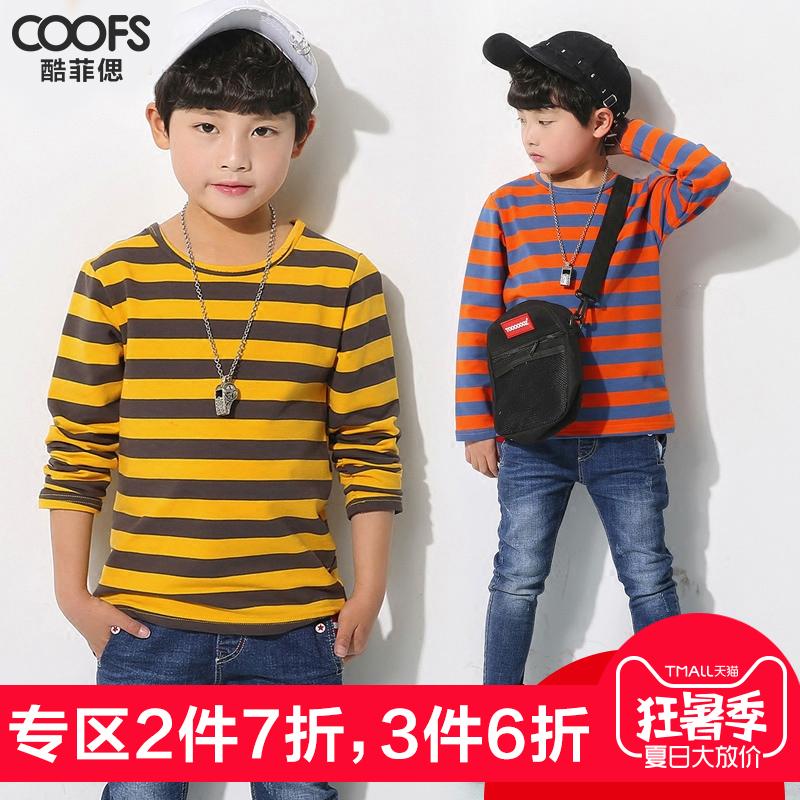 酷菲�颇型�纯棉长袖条纹T恤2018春装新品儿童套头衫中大韩版上衣