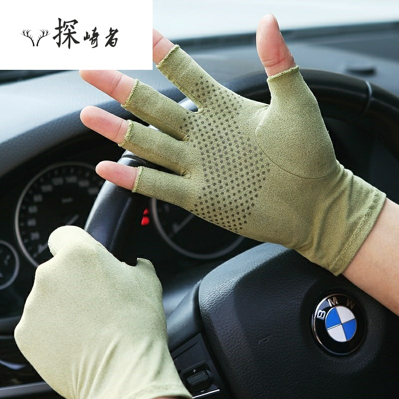 Ultra thin fingers, sweat, easy to drive, thin gloves, mens thin, breathable, summer half finger, summer antiskid cross-country fashion
