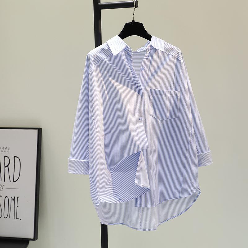 韩国单口袋蓝色竖条纹棉麻衬衫女2021春季新款插肩袖休闲衬衣上衣