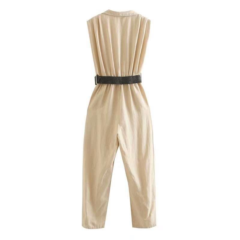 Holiday style Jumpsuit with belt 2020 womens new sleeveless closing thin Jumpsuit pants womens Jumpsuit