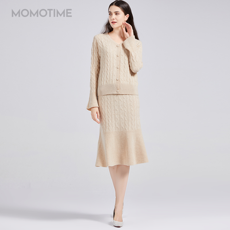 Momotime 036717 flared sleeve fishtail skirt shows thin leg length 100% wool suit sweater