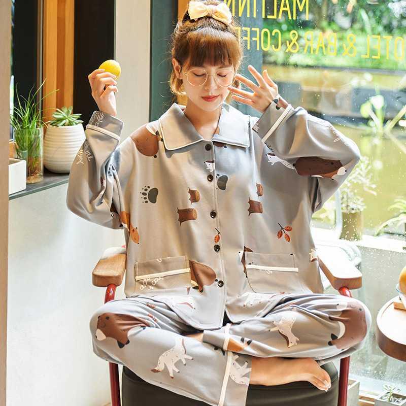 睡衣女春秋纯棉长袖长裤两件套装韩版清新可爱大码宽松休闲家居服