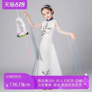 儿童旗袍夏季真丝中国风走秀女孩亲子装夏款服中式民族礼服国风古