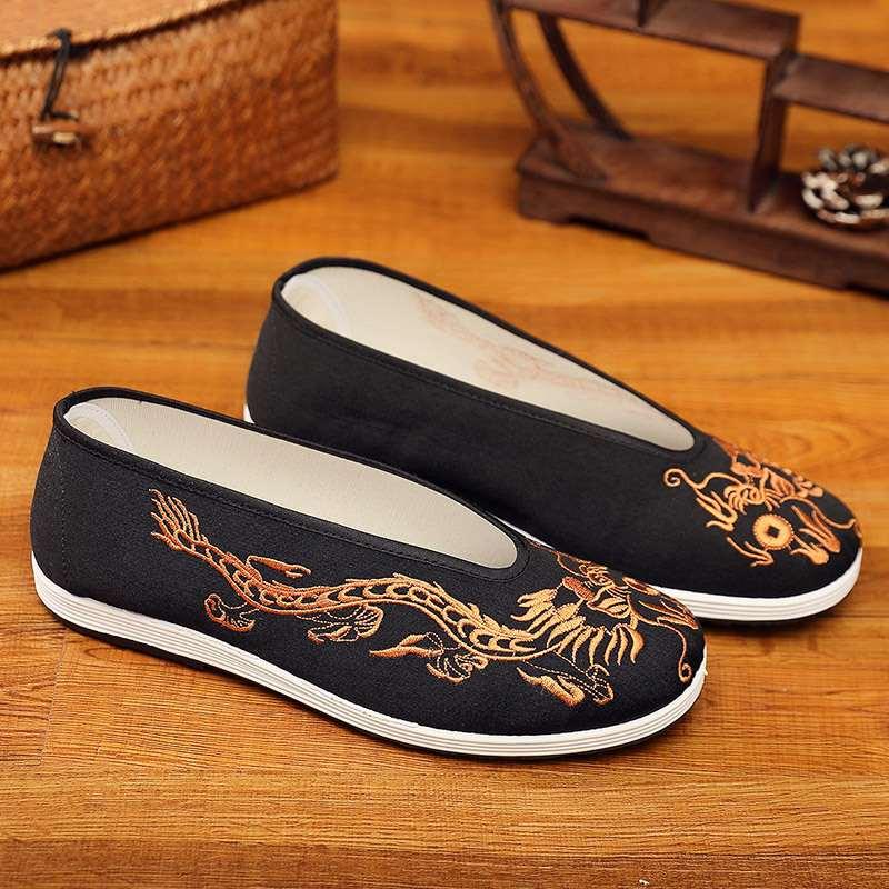 タオバオ仕入れ代行-ibuy99|男士鞋子|老北京布鞋软底男士中式刺绣男鞋子中国风复古黄黑龙圆口布鞋舒适