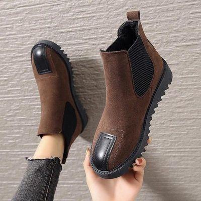 2021秋冬新款切尔西靴平底女短筒厚底棉靴复古短靴百搭加绒女靴子