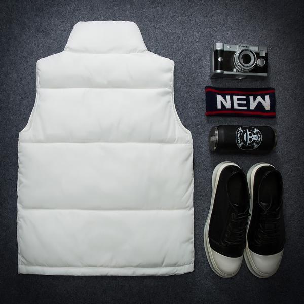 带领冬季冬款青年休闲夹克背心成人纯黑色小伙嘻哈马甲男图案女士