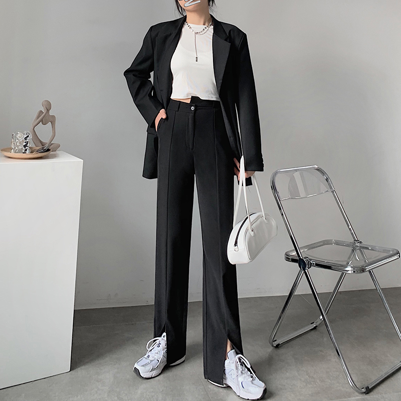 Split suit wide leg pants womens spring and autumn 2021 new high and low waist thin straight tube casual drooping feeling floor dragging small man