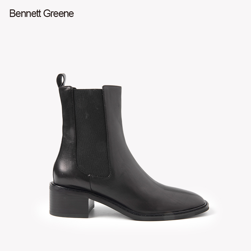 Bennett green autumn and winter new tire leather middle heel fashion boots b1d1933