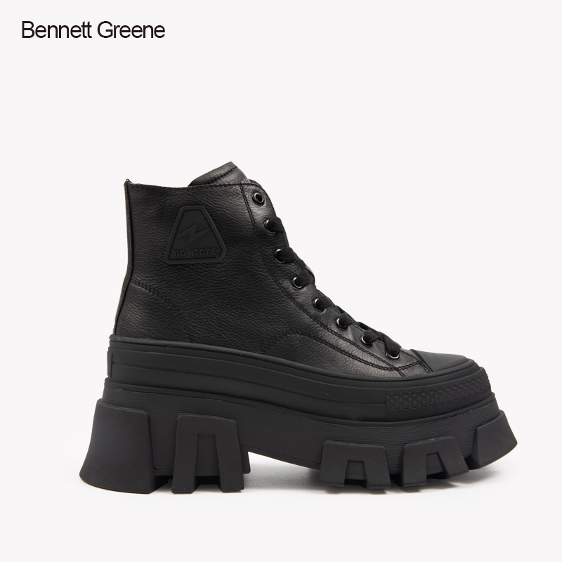 Bennett green cowhide fashion boots womens muffin bottom middle heel solid color womens boots fashion casual lace BG womens shoes