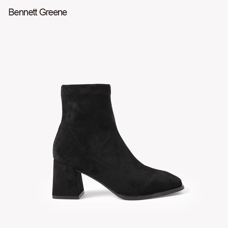 班妮特格林 秋冬季新款弹力羊猄中筒时装靴B1D5630