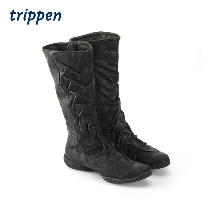 Trippen German design 2020 handmade womens boots fashion boots zipper wrinkled upper high boots weird
