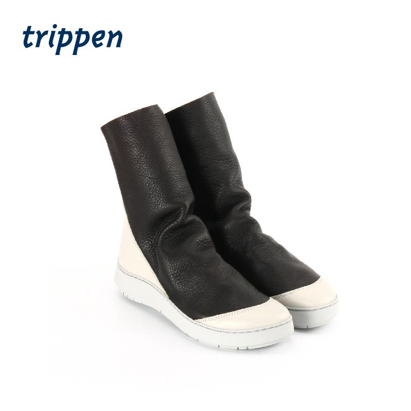 trippen德国设计手工制2020女款厚底短靴鹿皮拉链牛皮女款Shovel