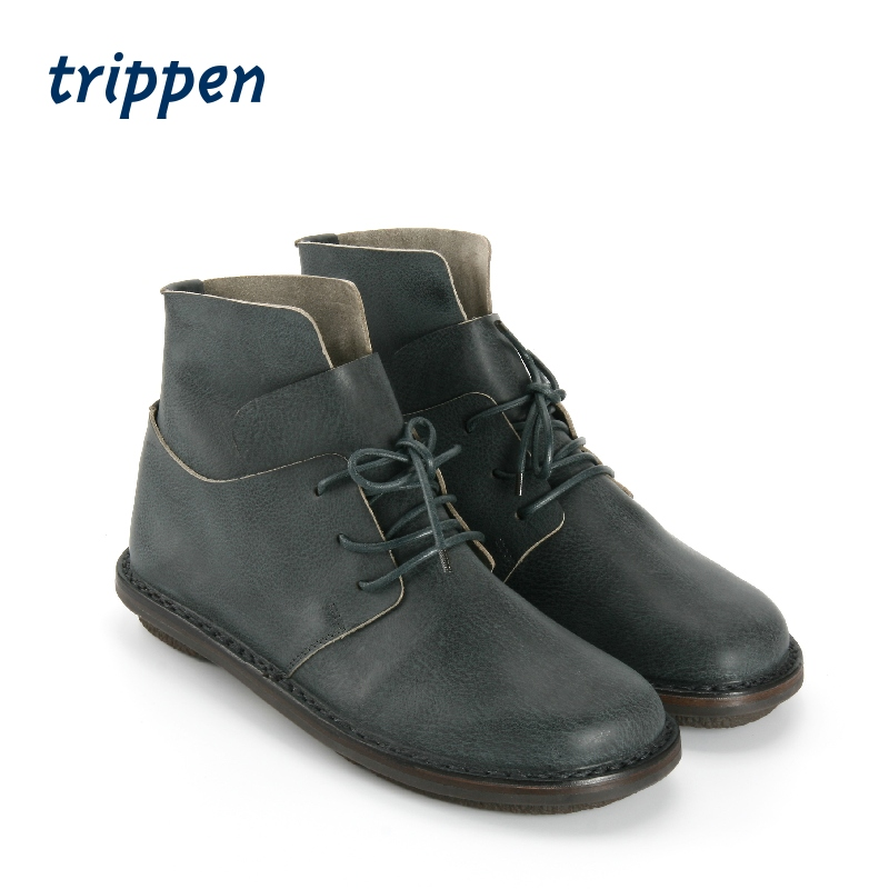 Trippen Germany 2020 DESIGN HANDMADE couple short boots lace up round head handmade mens shoes three