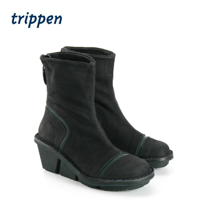 trippen德国2020新款设计师手工制女款经典短靴坡跟鞋拉链 Sweet