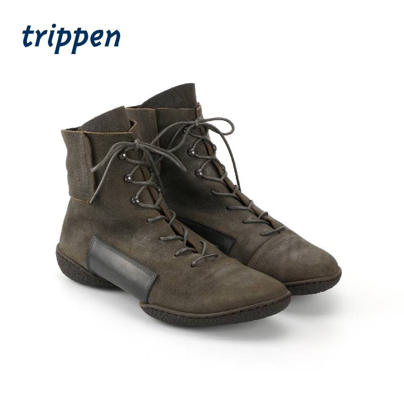 Trippen Germany design 2020 handmade couple short boots flat bottom lace up mens leather boots mind
