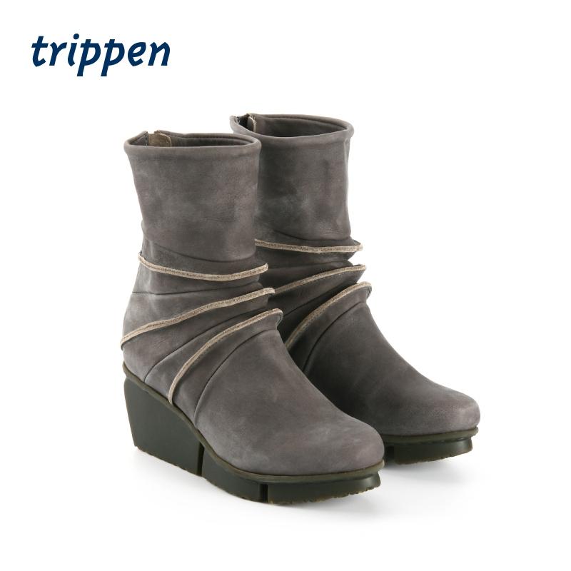 Trippen German designer handmade 2021 womens short boots back zipper wedge heel handmade shoes limber