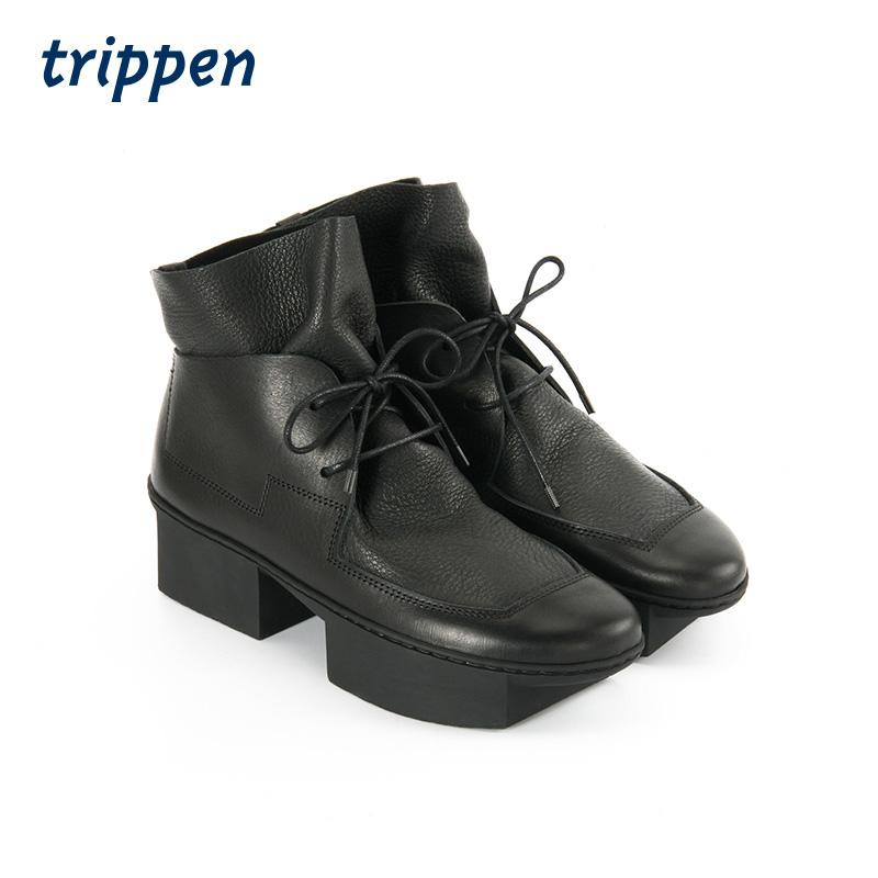 Trippen German design handmade 2020 winter womens Square heel deerskin spell cowhide lace up short boots trowel