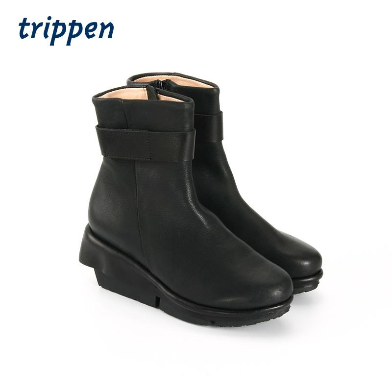 Trippen Germany design 2020 manual slope heel womens Velcro high heel leather boots verge